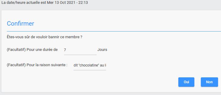 Page de confirmation lors du banissement via le profil Ban110
