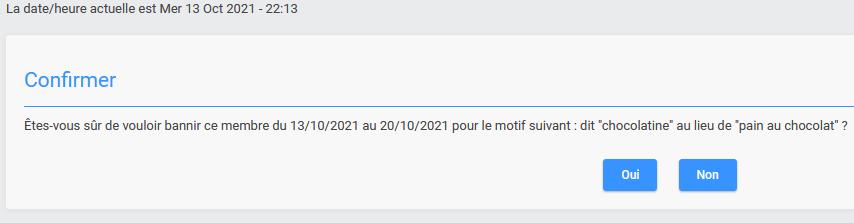 Page de confirmation lors du banissement via le profil Ban210