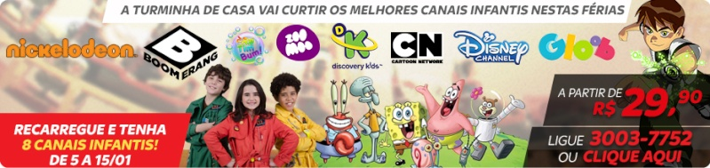 Sinal aberto dos canais Boomerang, TV Rá-Tim-Bum, ZooMoo, Discovery Kids, Cartoon Network, Disney Channel e Gloob no SKY Pré-Pago Adcast10