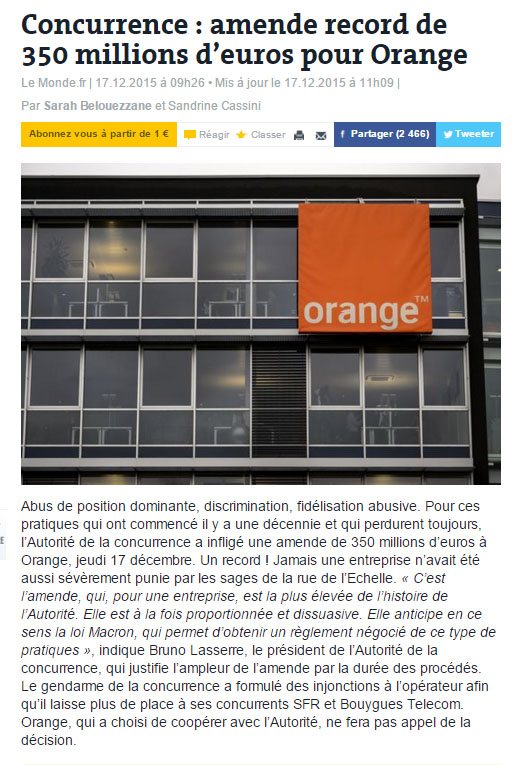 Concurrence : amende record de 350 millions d'euros pour Orange Le Monde.fr    Orange10