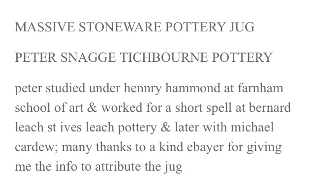 Large jug with prunts - Peter Snagge, Tichborne Pottery nr. Alresford Image145