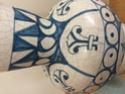 Tin glazed maiolica vase, bird motif - Benlloch Pottery, Spain Image267