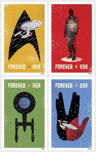 Emission d'une série 50 ans Star Trek par la Poste américaine USPS pour 2016 Star-t11