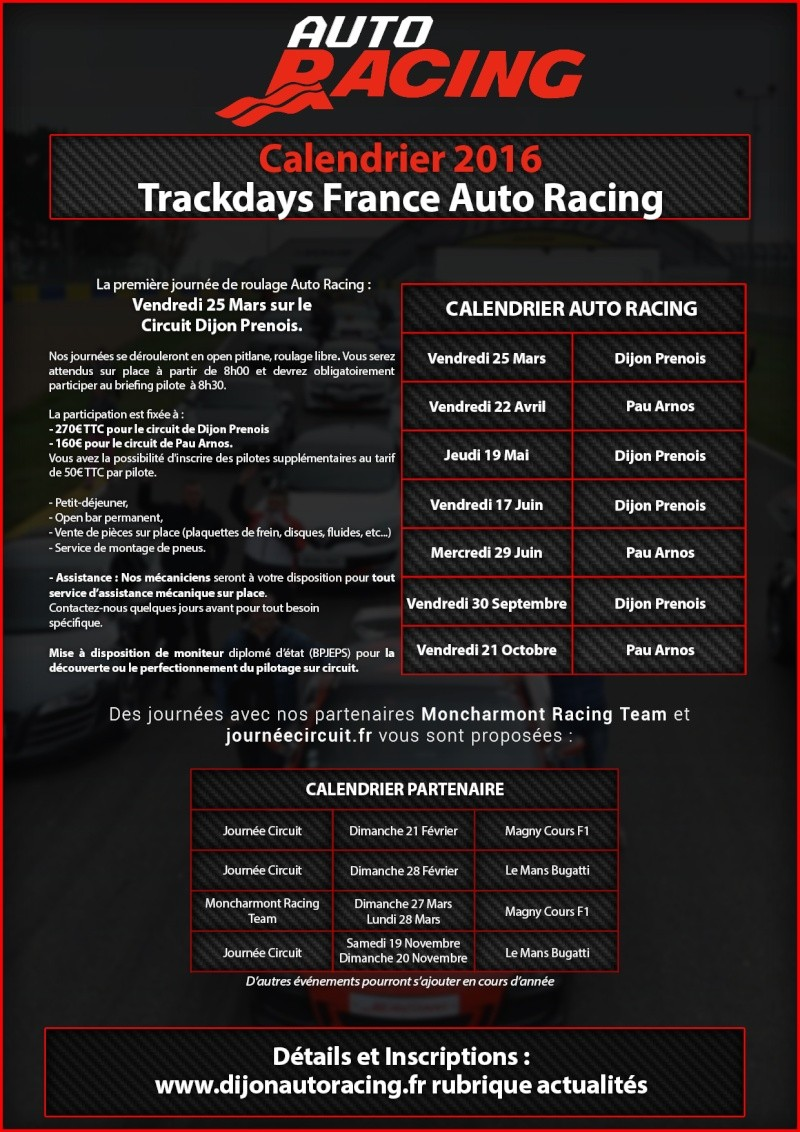 Trackdays saison 2016 France Auto Racing Journy16