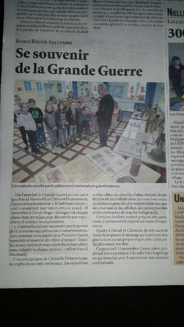 Ecole Roger Salengro à Lumbres Presse10