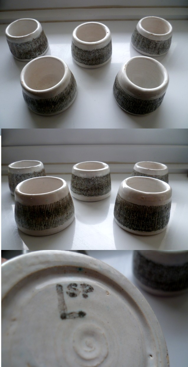 Sussex Stoneware Egg Cups Painted mark LSP Alsp10