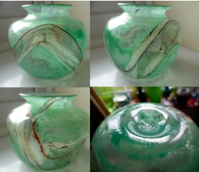 Green Glass with seaweed/marble Swirls Aswirl10