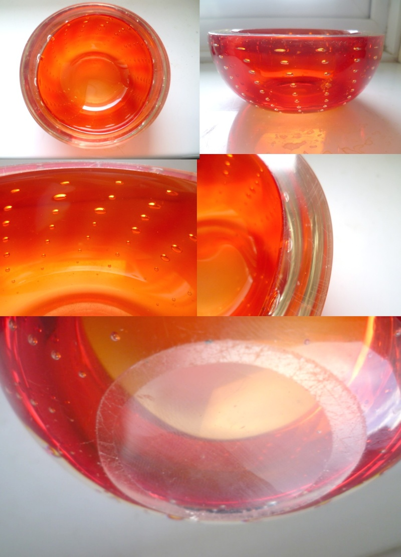 Italian Geode Style controlled bubble bowl but with ground out pontil  Todayo10