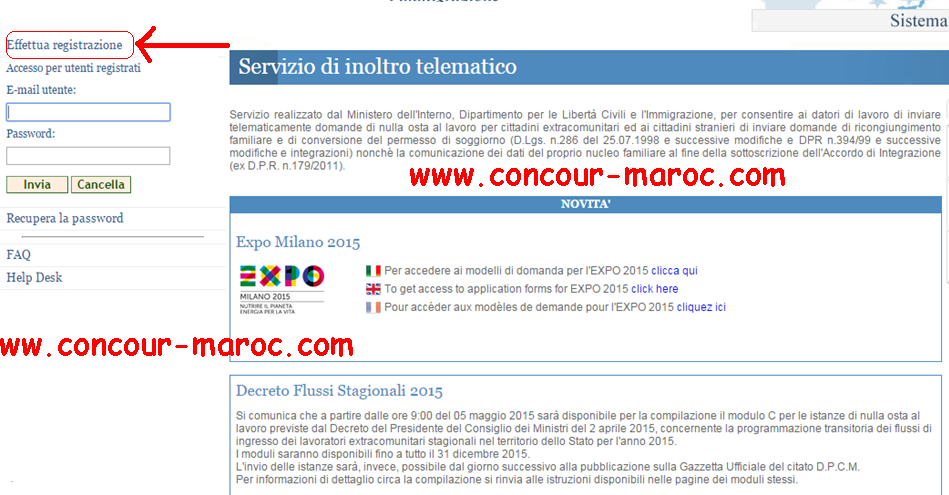 شرح مفصل بالصور لمختلف مراحل عملية التسجيل لتقدم للعمل في إيطاليا وفق قانون التدفقات الموسمية فلوسي Decreto flussi 2016 110