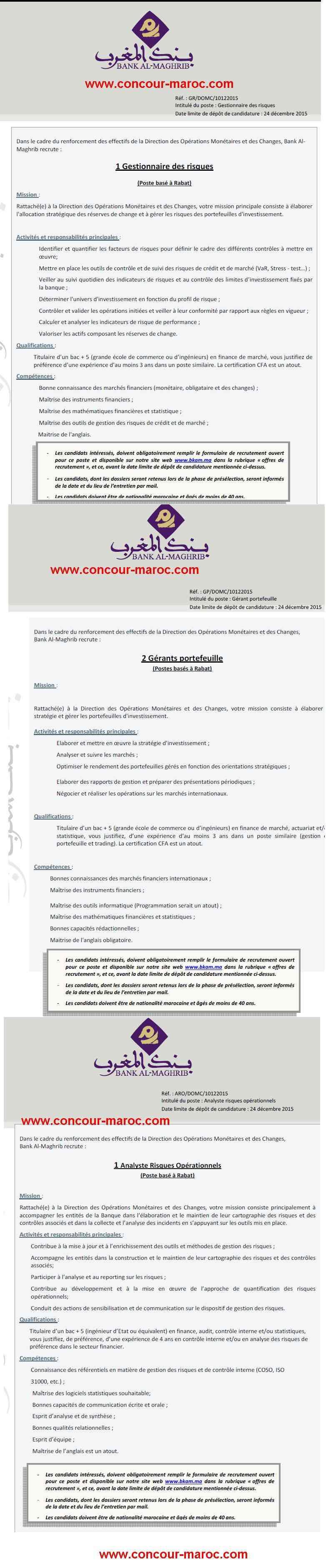 Bank Al-Maghrib : avis de concours de recrutement de Opérateurs back-office marché (3 postes) & Analyste risques opérationnels (1 poste) & Gérant Portefeuille (2 postes) & Gestionnaire des risques (1 poste) avant le 24 décembre 2015 Concou55