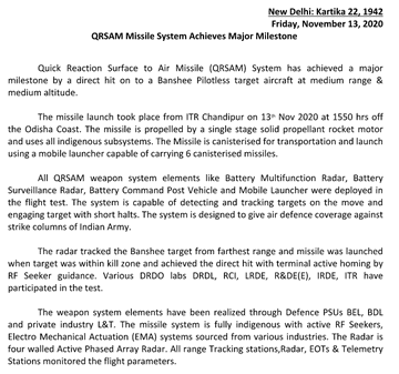 Indian Military SAM Systems - Page 4 Qrsam210
