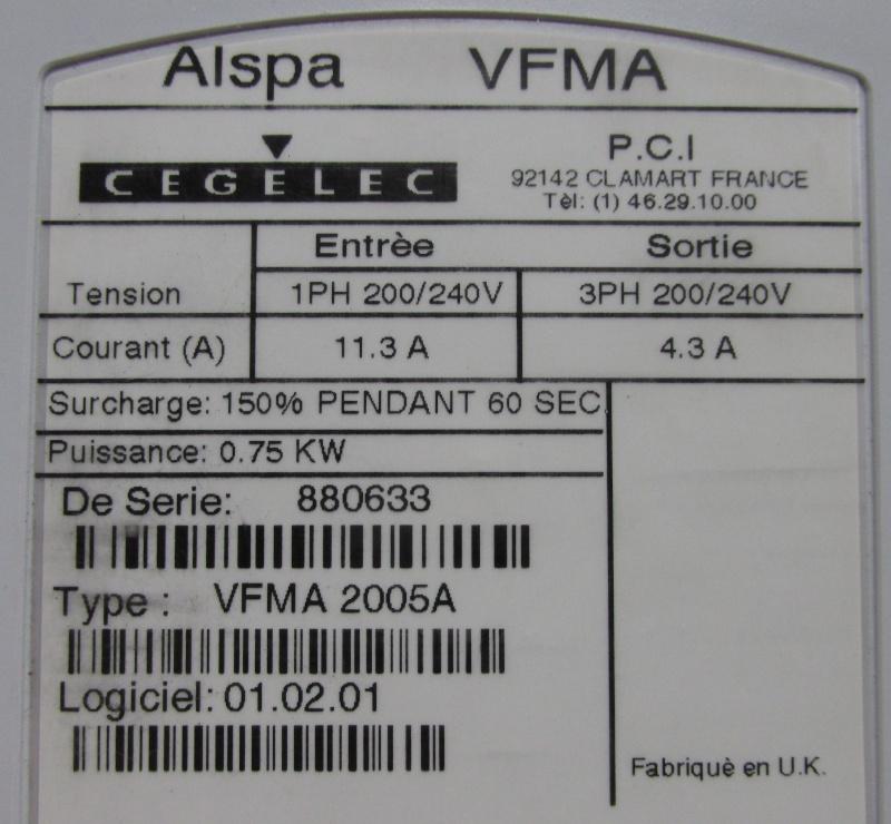 Variateur cegelec alspaflexA vérouillé Img_1626