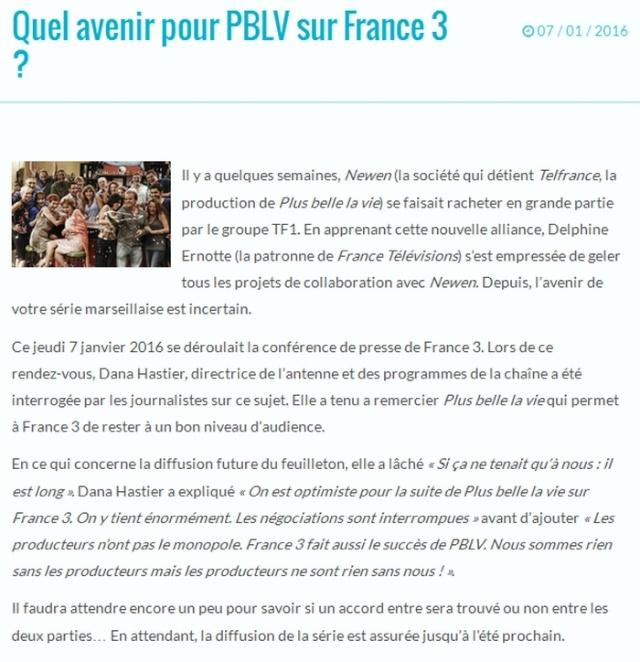 Quel avenir pour PBLV sur France 3 ? News0110