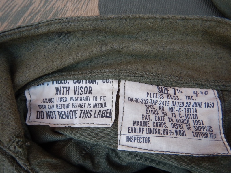 M1951 Cap,Field,Cotton,OD,With Visor.Marine Corp Depot Of Supplies. More_h12