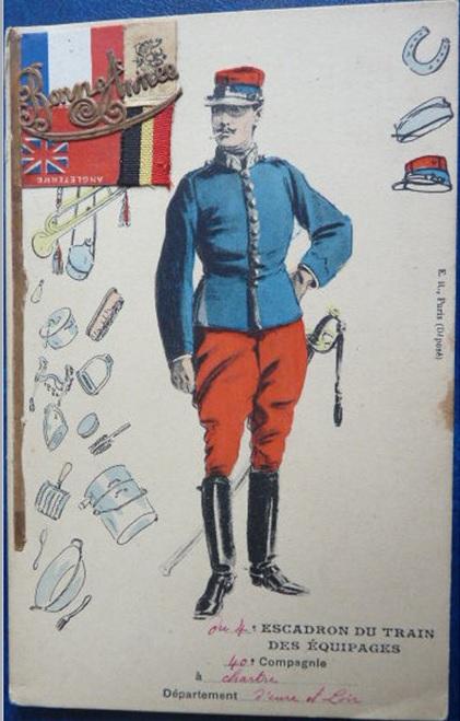 BONNE ANNEE 1915 carte couleur  46810