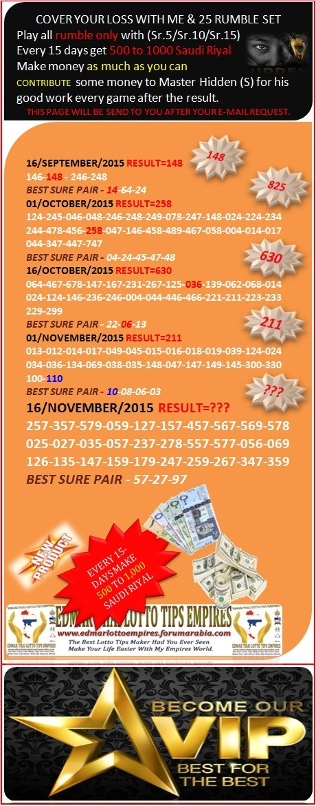 VIP DATA FOR ALL MEMBER BEFORE THE RESULT 16/NOVEMBER/2015 11:00 MORNING(FREE VIEW -UPDATE-DONE) Cover_10