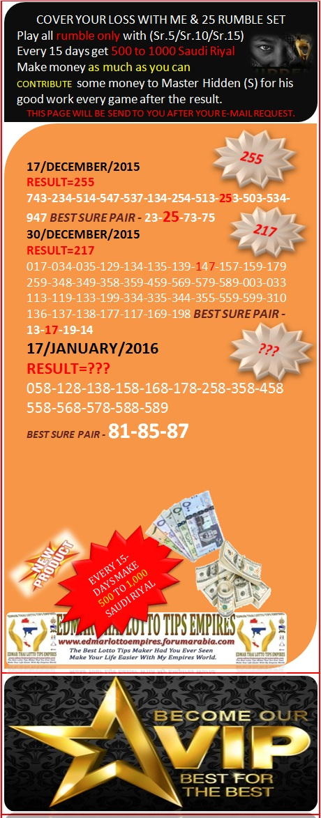 VIP DATA FOR ALL MEMBER BEFORE THE RESULT 17/JANUARY/2016 11:00 MORNING(FREE VIEW -UPDATE-DONE) Cover_14