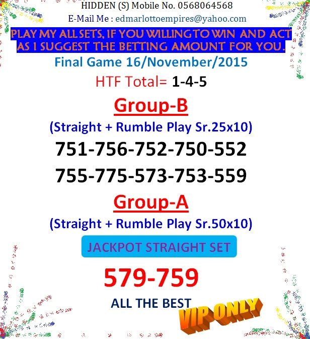 VIP DATA FOR ALL MEMBER BEFORE THE RESULT 16/NOVEMBER/2015 11:00 MORNING(FREE VIEW -UPDATE-DONE) Final_11