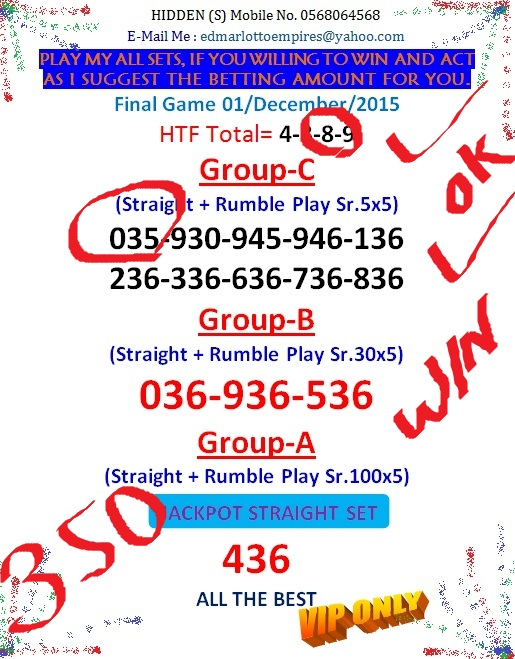 VIP DATA FOR ALL MEMBER BEFORE THE RESULT 16/JULY/2015 11:00 MORNING (FREE VIEW-UPDATE) Final_14