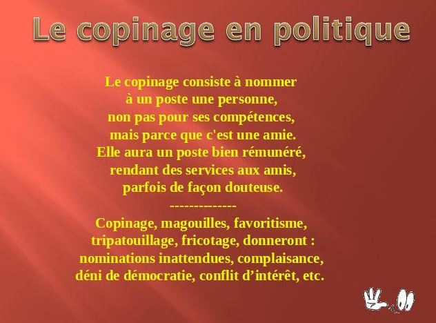 le copinage en politique consiste à nommer................. Captur10