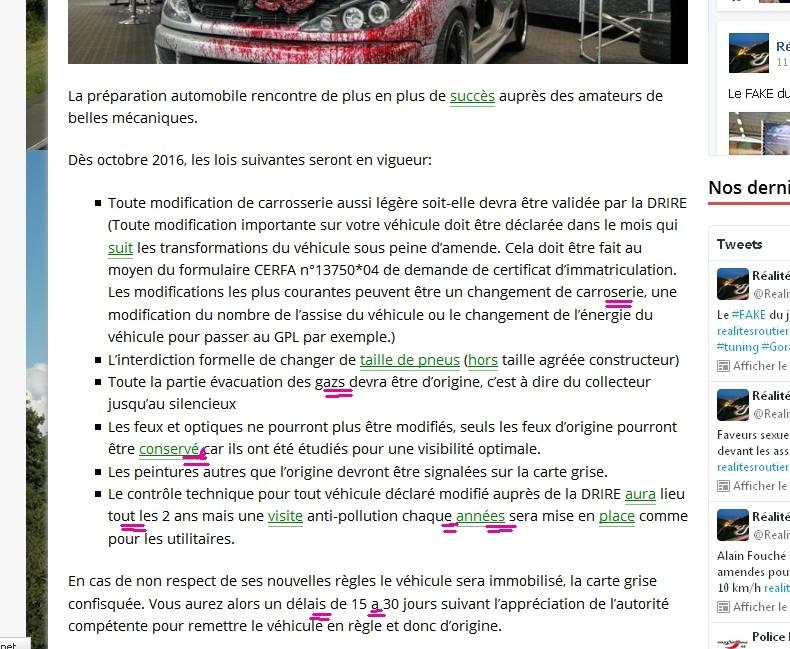 Ça se précise ( réglementation, personnalisation du véhicule 052