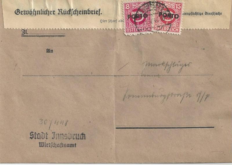 Rückschein Briefe von Gerichten 1946 Bild98