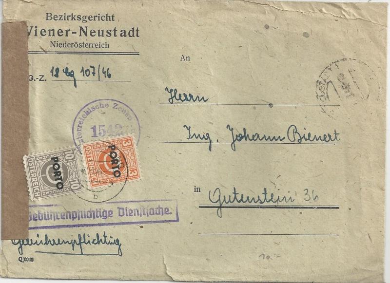 Rückschein Briefe von Gerichten 1946 Bild_348