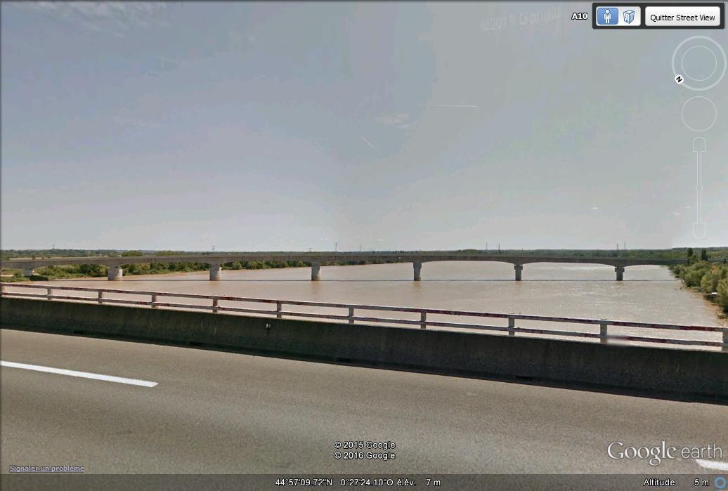 [Désormais visible sur Google-Earth] Pont sur la Dordogne de la LGV Tours-Bordeaux - Gironde - France G21