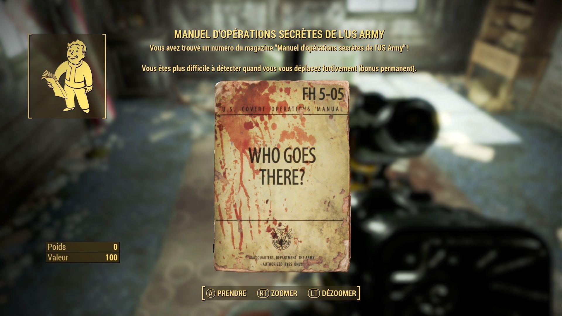 """FallOut 4 : Les magazines """"MANUEL D' OPERATIONS SECRETES DE L'US ARMY"""": Fallou64"""