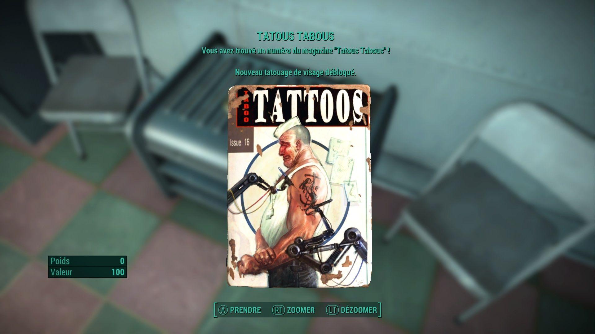 """FallOut 4 : Les magazines """"TATTOOS TABOUS"""" . Fallou78"""