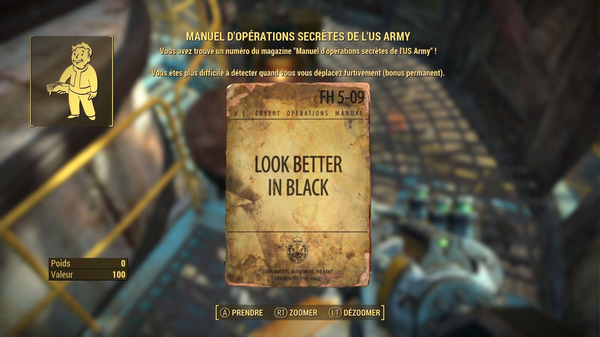 """FallOut 4 : Les magazines """"MANUEL D' OPERATIONS SECRETES DE L'US ARMY"""": Fallou82"""