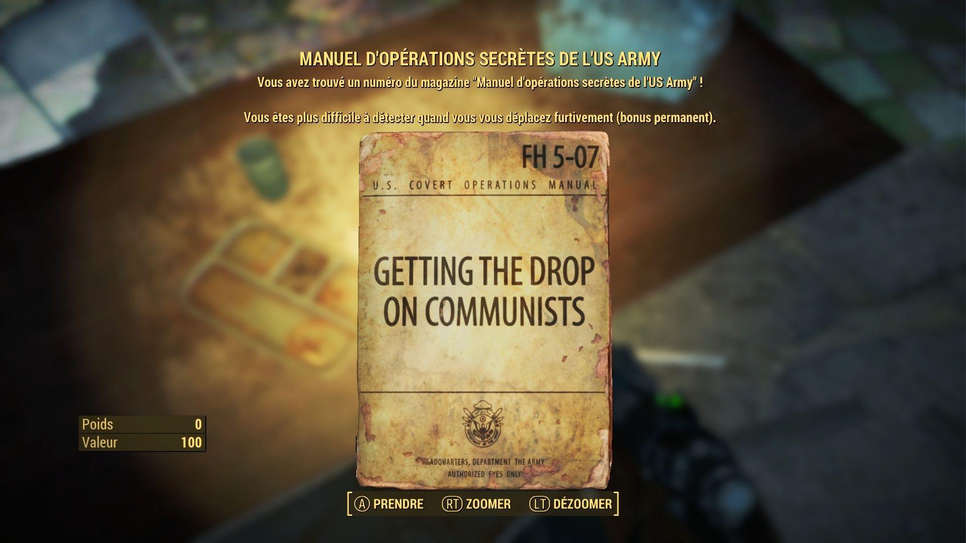 """FallOut 4 : Les magazines """"MANUEL D' OPERATIONS SECRETES DE L'US ARMY"""": Fallou83"""