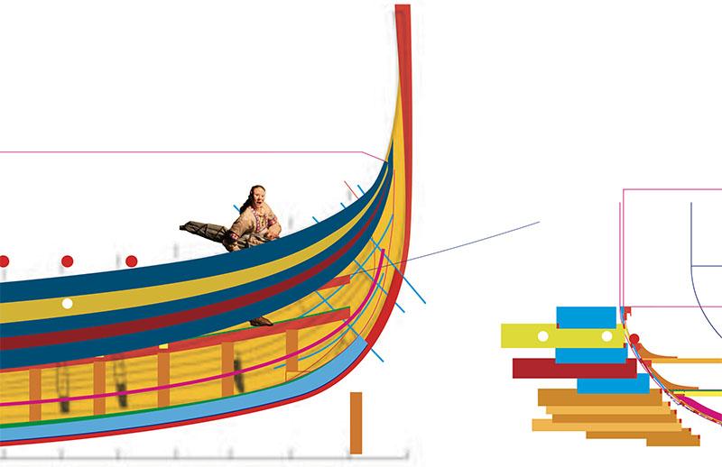 Wikinger-Boot Skuldelev 2 (1:20)  Zeichn18