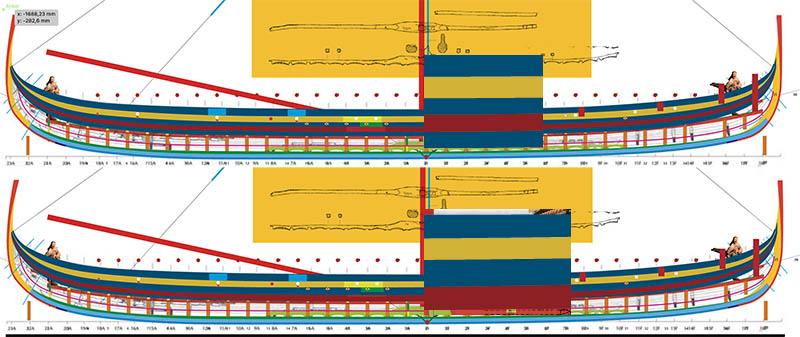 Wikinger-Boot Skuldelev 2 (1:20)  Zeichn19