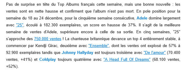 """Chiffres de ventes de """"De L'amour"""" - Page 3 Top10"""
