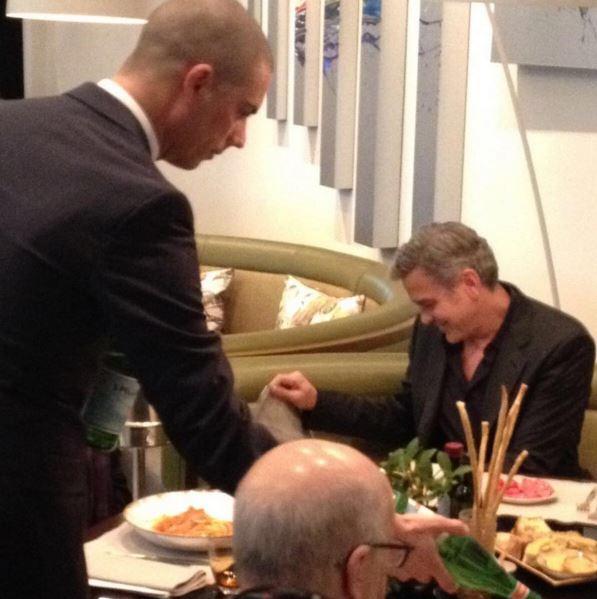 "George Clooney had lunch at La Banca"" (Hotel de Rome) in Berlin Friday 12.02.2016 Bb210"