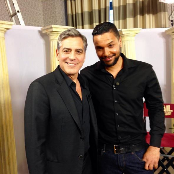 RTL Moderator Kena Amoa picture with George Clooney at Hotel de Rome Berlin Bb310