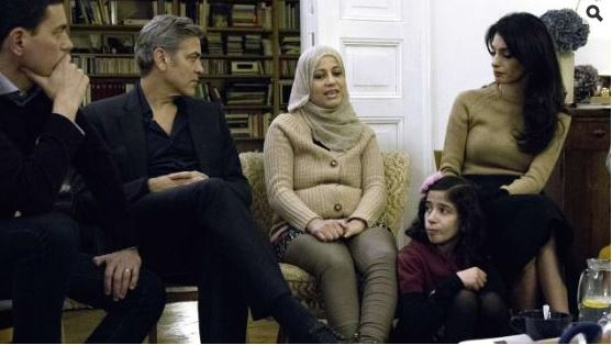 George Clooney and Amal meeting with Refugees Uu10