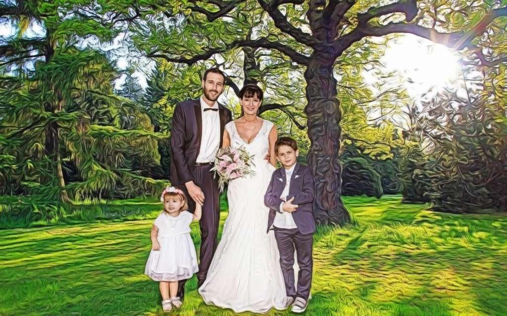 détourage de mariés et leurs 2 enfants  Cc032913