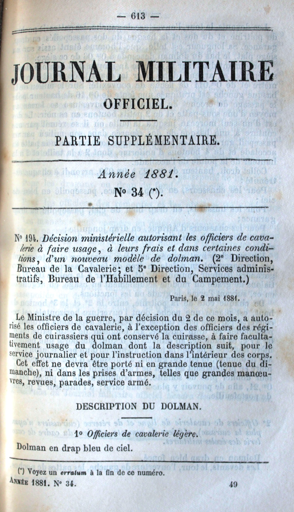 Le dolman dans l'armée française 1872-1914 2_mai_11