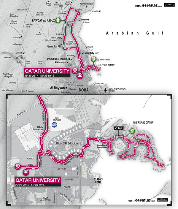 planimetria 2016 Ladies Tour of Qatar (2.1) - 1a tappa Doha › Doha (97 km)