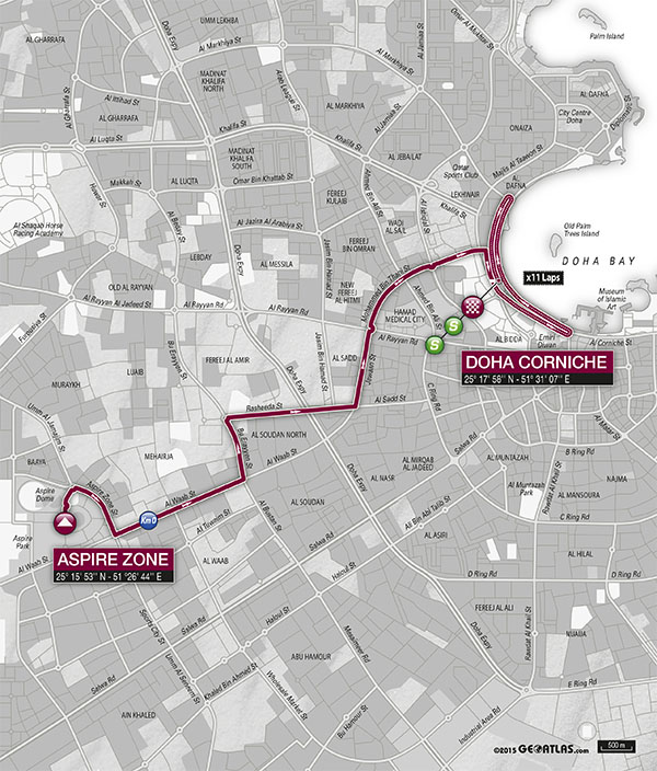 planimetria 2016 » 8th Ladies Tour of Qatar (2.1) - 4a tappa » Doha › Doha (73 km)