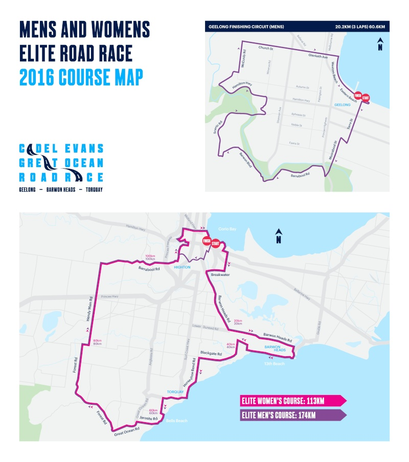 altimetria planimetria 2016 » Cadel Evans Great Ocean Road Race (1.HC) »Geelong ›Geelong (174 km)