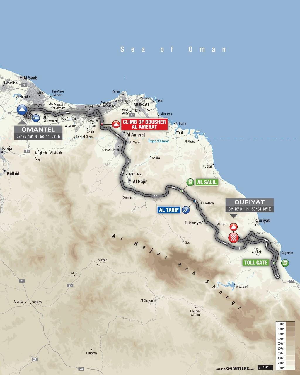 planimetria 2016 » 7th Tour of Oman (2.HC) - 2a tappa » Omantel Head Office › Quriyat (162 km)