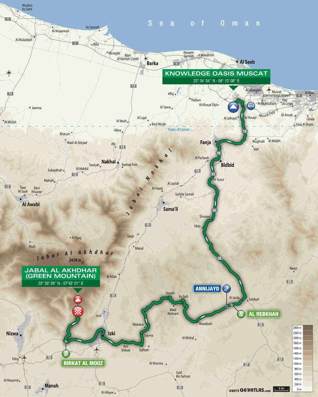 planimetria 2016 » 7th Tour of Oman (2.HC) - 4a tappa » Knowledge Oasis Muscat › Jabal Al Akhdhar (Green Mountain) (177 km)