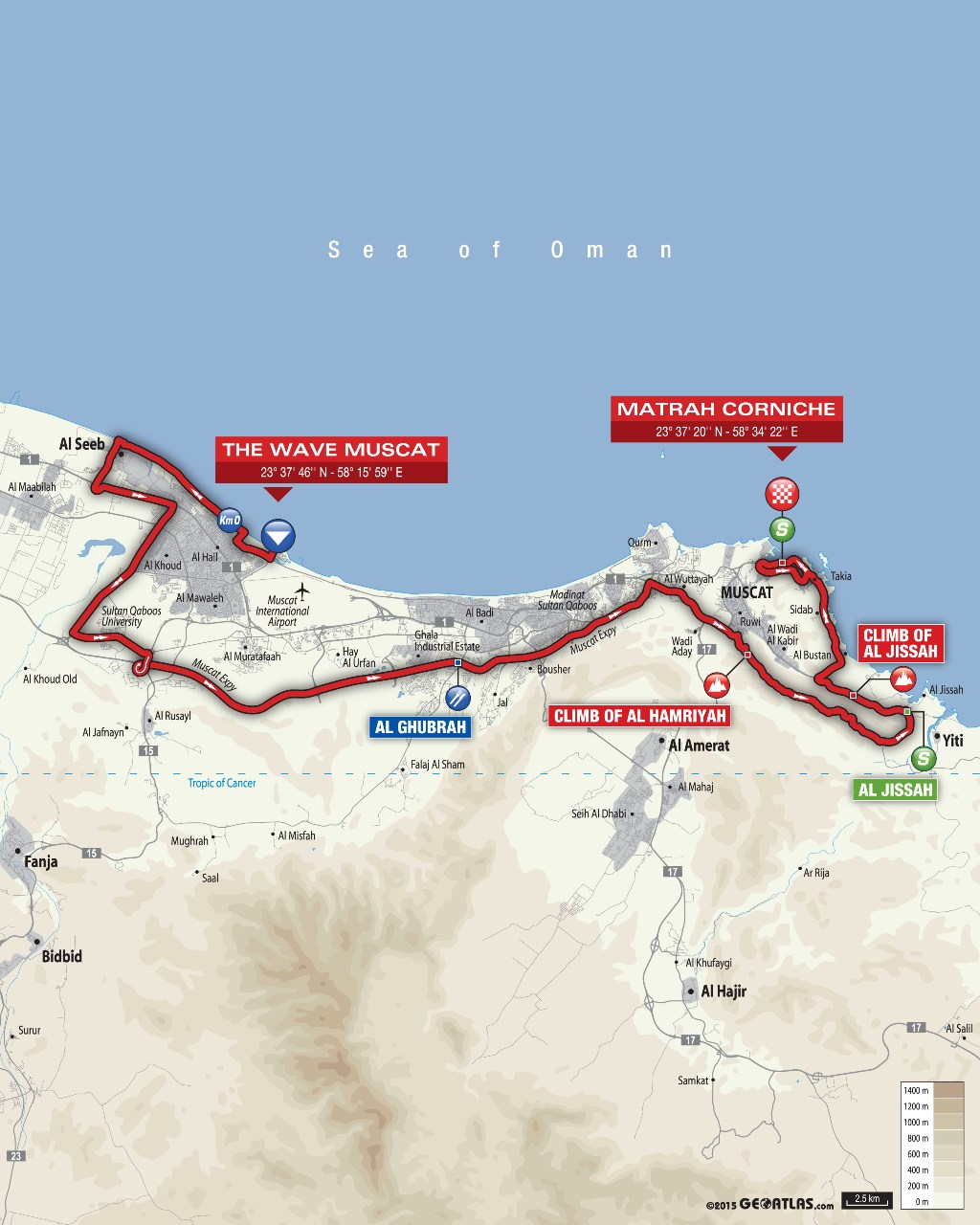 planimetria 2016 » 7th Tour of Oman (2.HC) - 6a tappa » The Wave Muscat › Matrah Corniche (130.5 km)