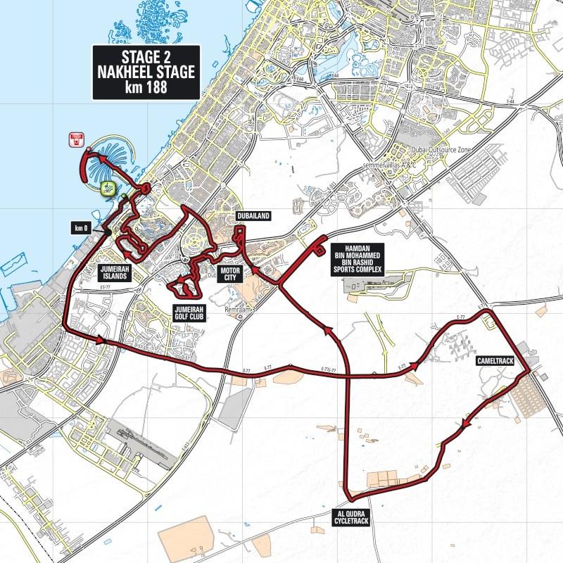 planimetria 2016 » 3rd Dubai Tour (2.HC) - 2a tappa » Dubai › Palm Jumeirah (183 km)