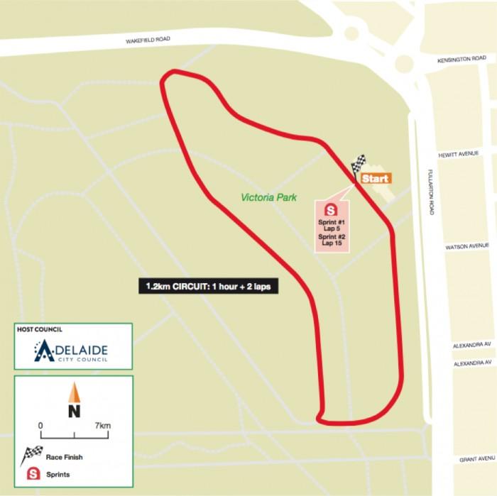 planimetria 4a tappa Victoria Park›Victoria Park (1 ora + 2,4 Km) del Santos Women's Tour Down Under