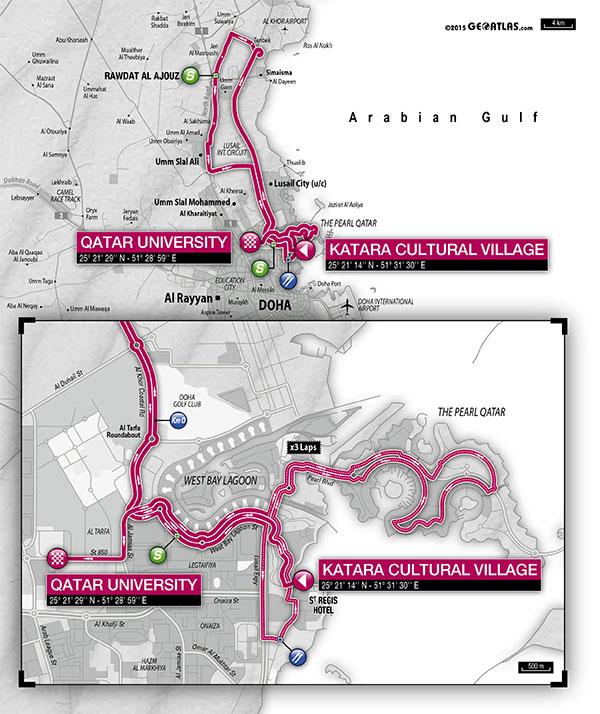 planimetria 2016 » 15th Tour of Qatar (2.HC) - 2a tappa » Doha › Doha (135 km)