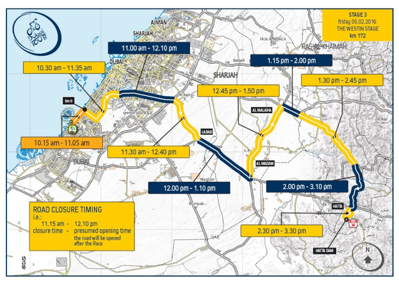 planimetria 2016 » 3rd Dubai Tour (2.HC) - 3a tappa»Dubai ›Hatta Dam (172 km)